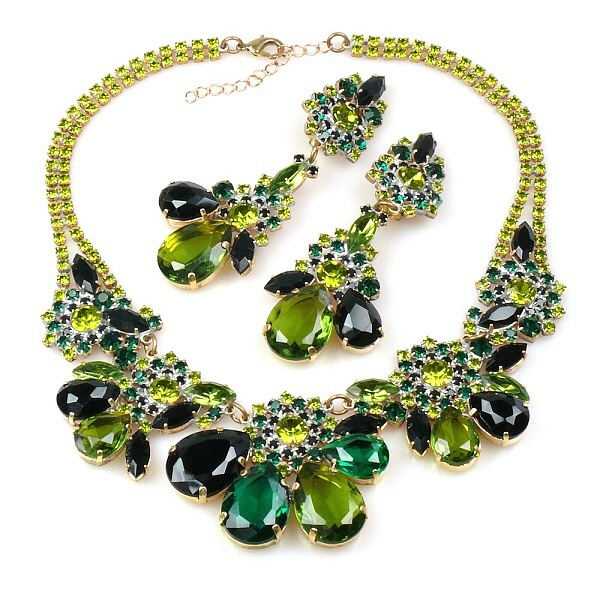 """Parisienne Bloom ~ Necklace Set ~ Green Tones. Exclusive rhinestone necklace set hand created from rare toned rhinestones with iridescent effect and bunch of smaller Preciosa stones and components. Length of necklace 15.50"""" and extender 2.50"""", length of clips-on earrings 3.50"""". Price: $99.90"""