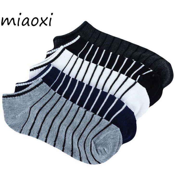 miaoxi Stripe Men Summer Sock 5 Pairs /lot Package Male Light Socks Cotton Short Sock Wholesale Couples Socks Sale