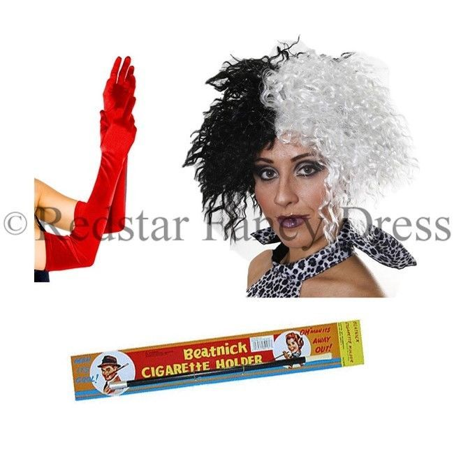 Cruella Fancy Dress Wig Gloves Holder DeVille Dalmation Fancy Dress Costume | eBay