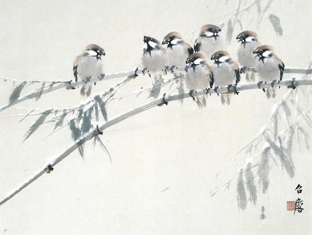 Fang Zhaoling (1914-2006) Eight birds perched on bamboo