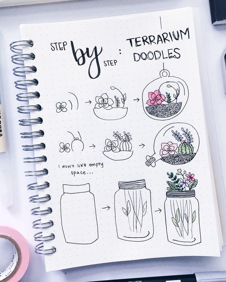 Terrarium doodles step by step