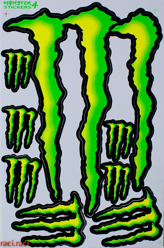 Green monster energy claws sticker decal supercross by raciraci 6 50