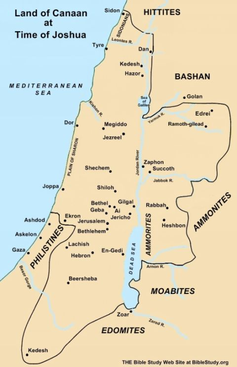 Large Map Land of Canaan during time of Joshua