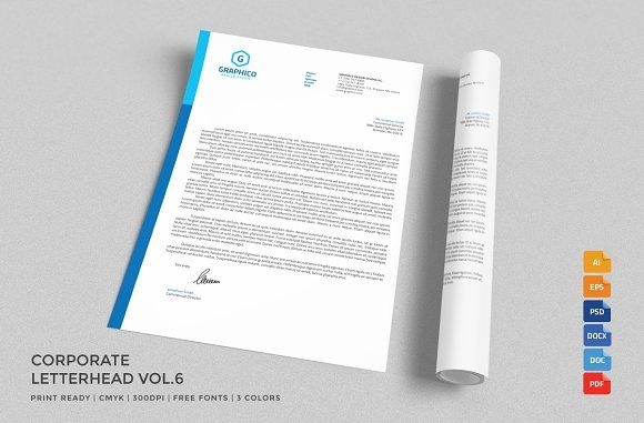Corporate Letterhead 6 with MS Word by nazdrag on @creativemarket