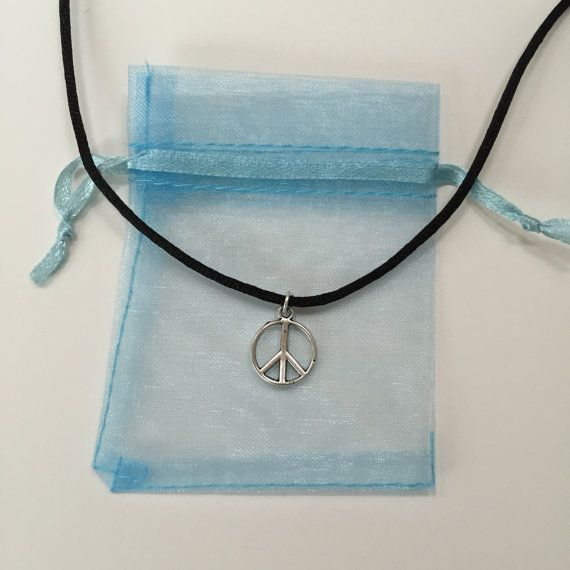 Peace Choker Necklace 90s Black Cord Choker with by CelticBijou