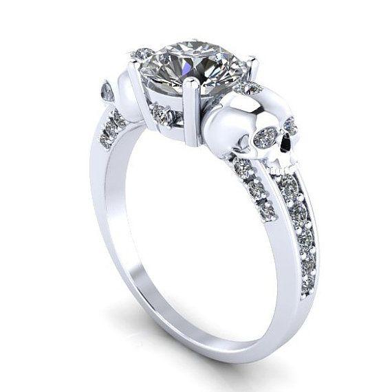 Sterling Silver Skull Engagement Ring with by SkulltimateGear
