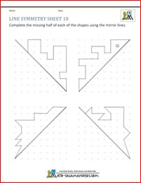 Line symmetry sheet 10 with diagonal lines of symmetry
