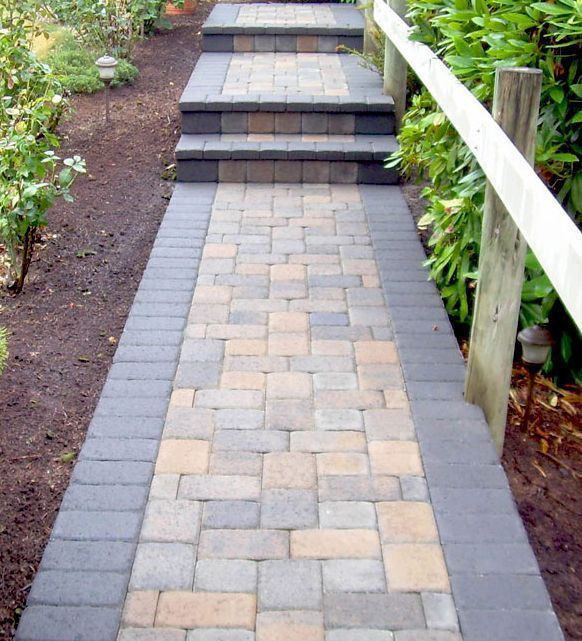 Simple, Narrow Bordered Front Walkway in Pavers