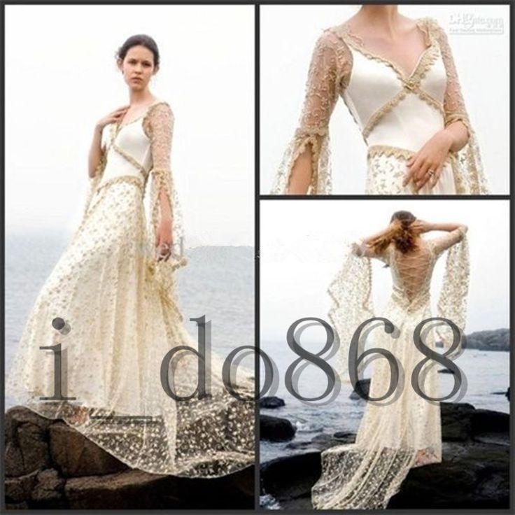 Nova Moda Praia Boho Champanhe Vestido De Casamento Vestido De Noiva Marfim Tamanho Personalizado