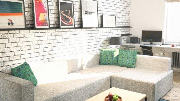Návrh interiéru 2-izbového bytu, rekonštrukcia, Tokajícka ul., Bratislava - Interiérový dizajn / Living room interior by Archilab