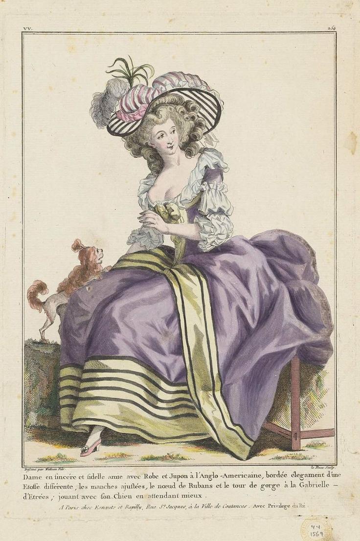 1784 Dame en sincére et fidelle amie avec Robe et Jupon à l'Anglo-Americaine, bordée élegament d'une Etoffe différente, les manches ajustées, le noeud de Rubans et le tour de gorge à la Gabrielle– d'Etrées; jouant avec son Chien en attendant mieux.