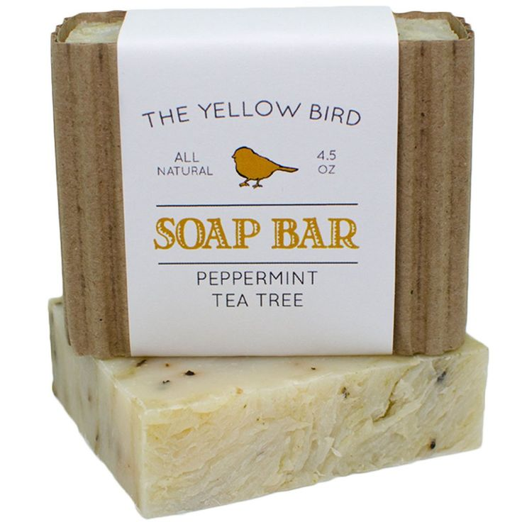 Peppermint & Tea Tree soap bar. Made with organic ingredients that have natural antibacterial, antimicrobial, antifungal, and antiseptic properties! This is a soap often used by people who have problem skin.