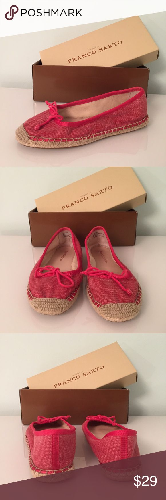 Franco Sarto Coral Pink Espadrilles Flats Bow 8.5 Franco Sarto espadrilles / flats. Color is pink / coral and includes a small bow on top. Size 8.5. Franco Sarto Shoes Espadrilles
