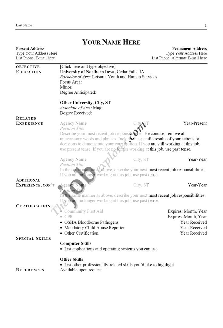 resume template for a job