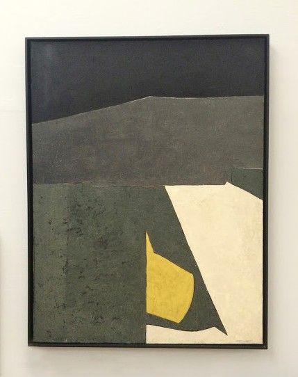 """peinture abstraite russe : Serge Poliakoff, 1951, """"composition gris et noir"""", gris sombre, 1950s"""
