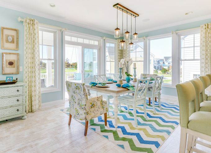 blue and green dining room | Echelon Interiors