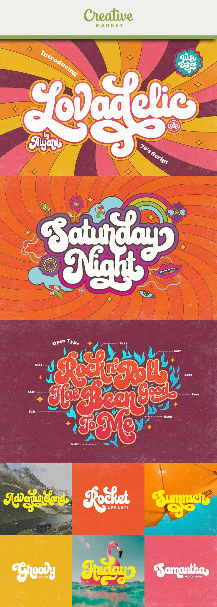 Ad: new retro script calledLovadelicInspired from 70's script lettering combine with psychedelic balloon typography. Lovadelic came with open type features such stylistic alternates, stylistic sets, contextual alternates & ligatures. The package also came with extras graphic to help you make stunning design.