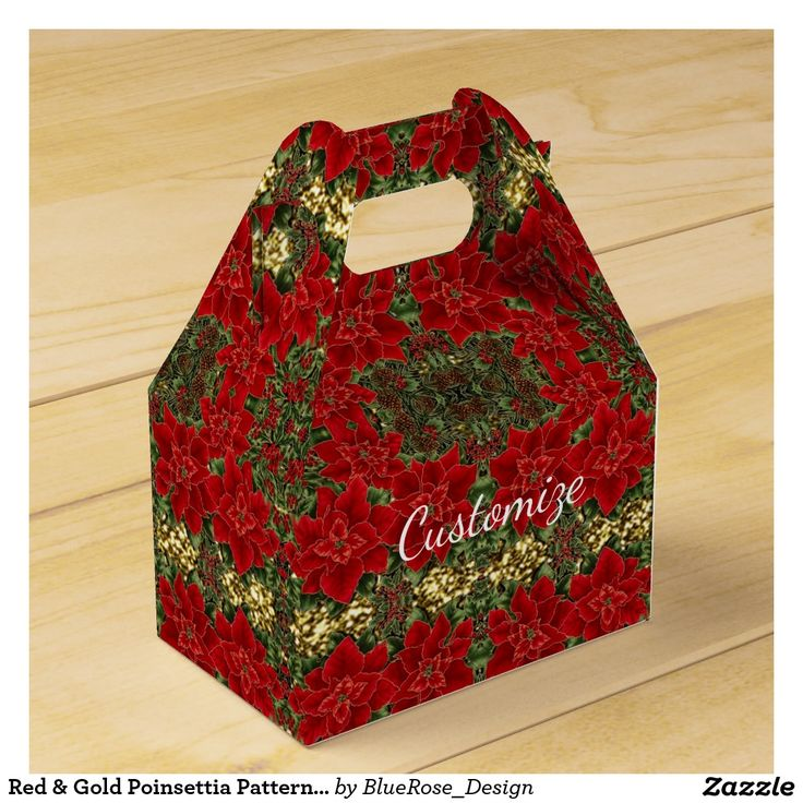 Red & Gold Poinsettia Pattern Gable Favor Box