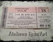 Invitation anniversaire billet de concert personnalisable : Faire-part par ateliers-ross-art