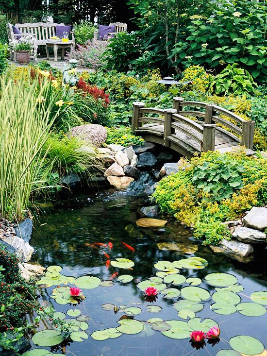 Pond Perfect  A restful landscape includes an expansive pond.  -- A bench, chair, and table offer a quiet alcove overlooking the expansive lily pond.  -- An arched bridge takes garden visitors over the water below.