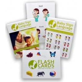 Deluxe Baby Sign Language Kit...includes everything needed to get started teaching baby to sign...comes w/ a BSL Guide Book, 600 Word Dictionary, 52 Flash Cards, & A 24'x36' Wall Chart. It's on sale for $39.95
