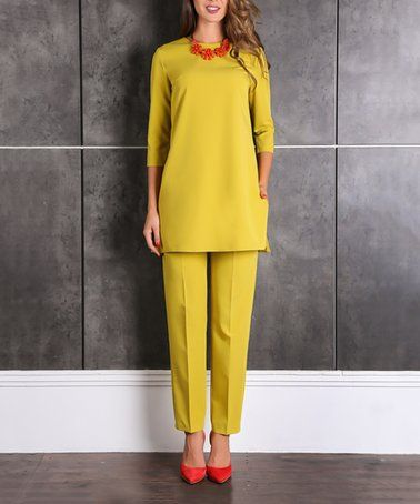 aa65e68f2af2 Another great find on #zulily! Mustard Three-Quarter Sleeve Tunic & Crop  Pants - Plus Too #zulilyfinds