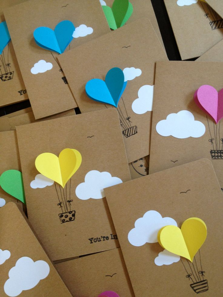 Heart Hot Air Balloon Invitation with Envelope - Handmade Cards - targeta con un glovo de aerostatico