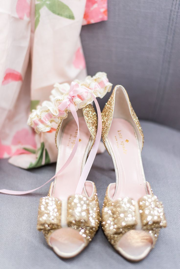 Girls wedding dress shoes  GOLD GLITTER BRIDAL SHOES AND A MATCHING BLUSH AND GOLD LACE WEDDING