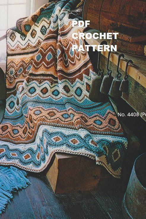 Navajo Afegão Crochetar Clássica -  /   Vintage Crochet Navajo Afghan -