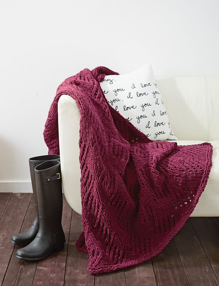 Yarnspirations.com - Bernat Angled Eyelets Blanket - Patterns  | Yarnspirations