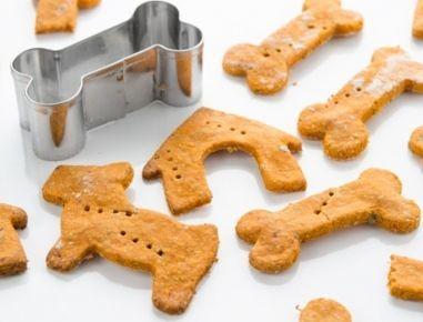 Für die Hundekekse mit Hüttenkäse den getrockneten Basilikum, Mehl und Hafermark vermengen. Das Tomatenmark und den Frischkäse zu den trockenen