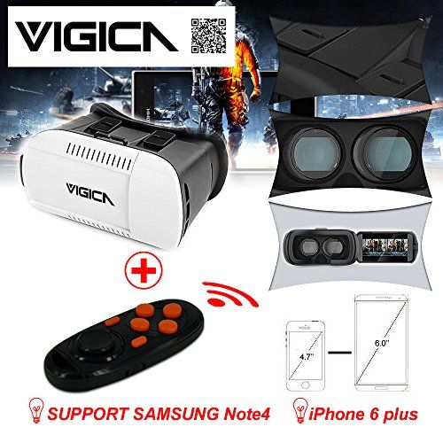 VIGICA Google Cardboard 4.7-6 inch for iPhone Android VR Box Virtual Reality Headset Video 3D Glasses Movie Game Plastic with Bluetooth Controller Gamepad QR Code