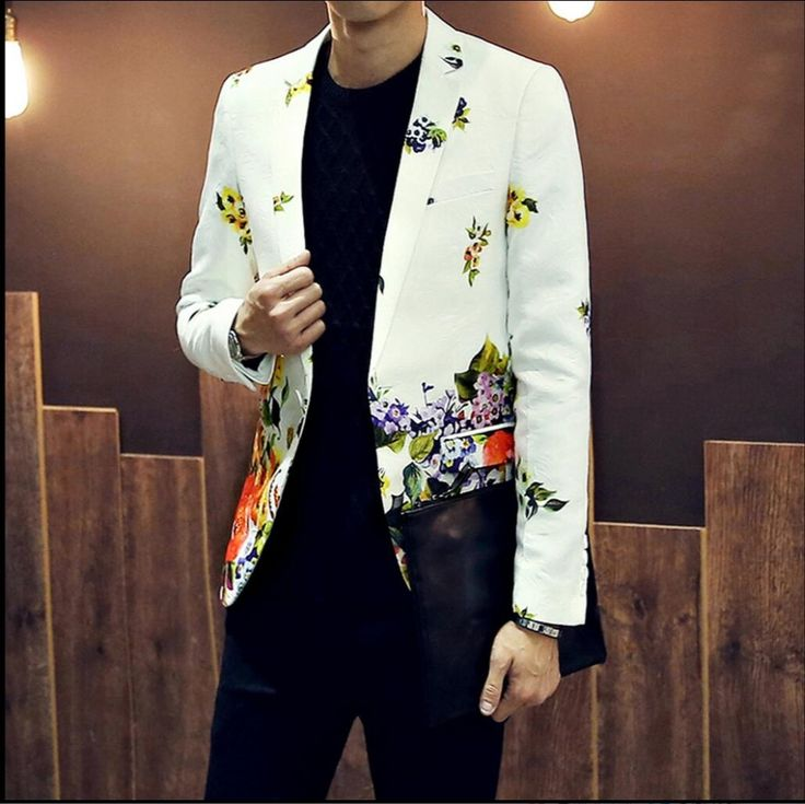 2016 spring and autumn Blazers new mens clothing fashion jacquard printing small suit jacket slim suit dress top singer costumes