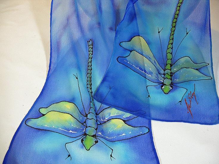 Dragonfly Silk Scarf - Floating silk chiffon dragonflies Hand painted on blue. $35.00, via Etsy.