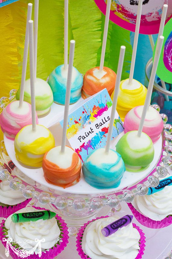 paintball pops & printables: Art Party, Cakes Pop, Paintings Party, Paintings Ball, Cake Pop, Party Idea, Rainbows Party, Ball Pop, Cakes Ball