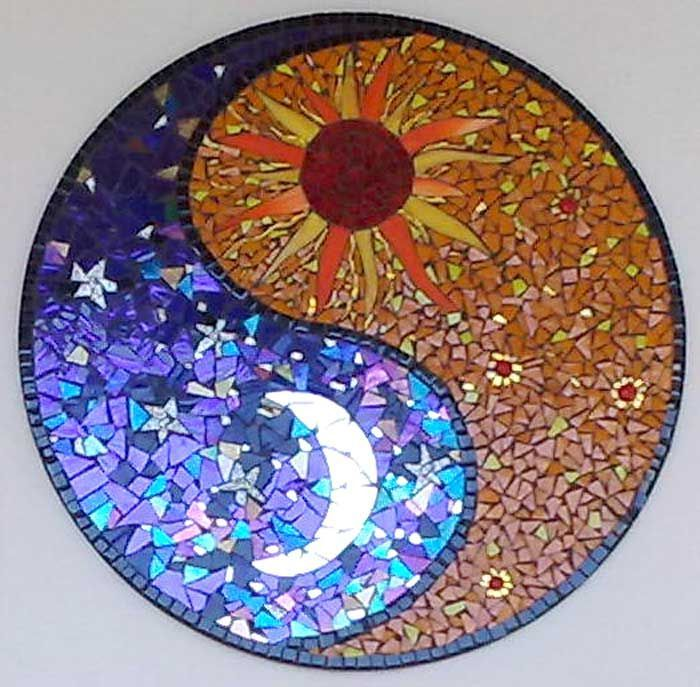 Download Free ... Mosaics Mosaics Pattern Half Circles Ying Yang Sun And Moon Tattoo to use and take to your artist.