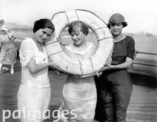Three of the competitors: Left to right : Miss Fidge (Italy) Violet Pout (England) Berthy Egli (Spain) taking part in the first ever International Beauty show to be held in Britain, at the Pier Hippodrome, Folkestone, Kent. 14th August 1921