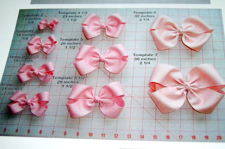 How much ribbon is needed for each sized bow.