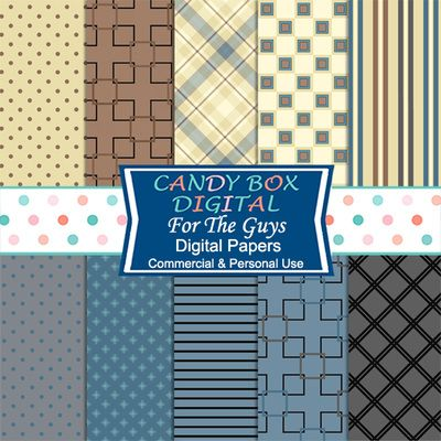 For The Guys Digital Papers. Masculine brown and blue papers by Candy Box…
