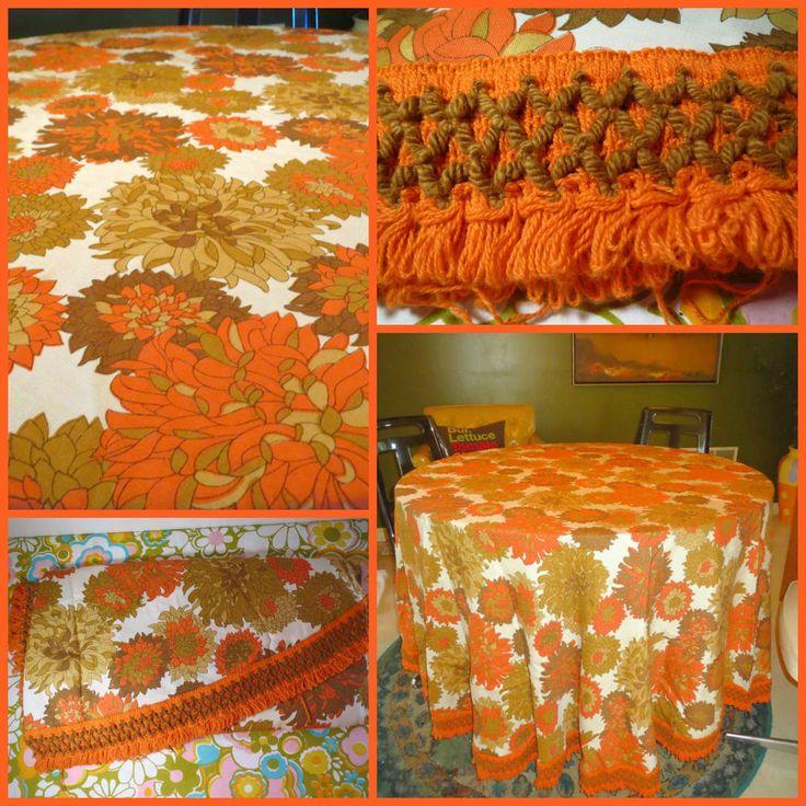 VTG 1960s Retro Groovy Orange Flower Fringe Boho Kitchen Oblong Oval Tablecloth