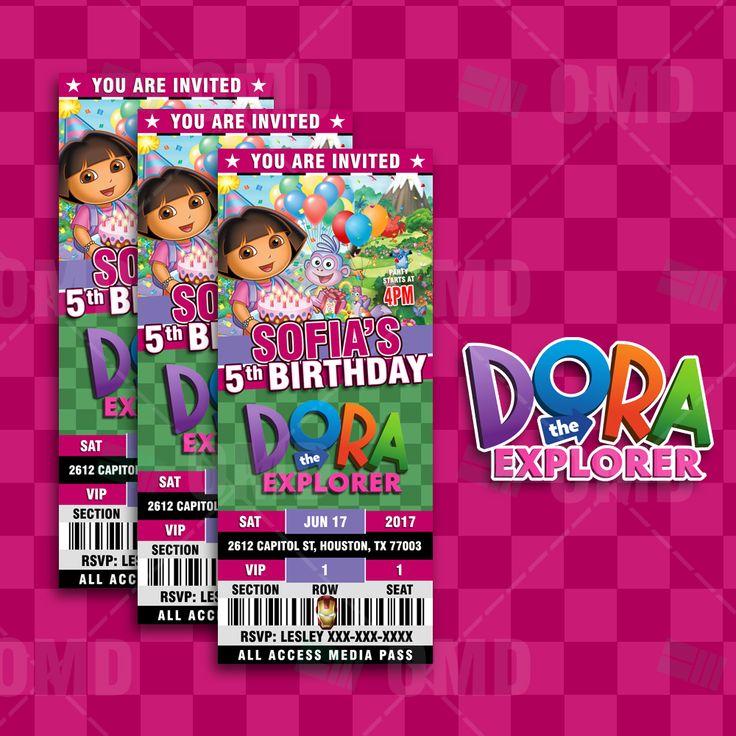 Dora the Explorer Ticket Style Birthday Cartoon Invites