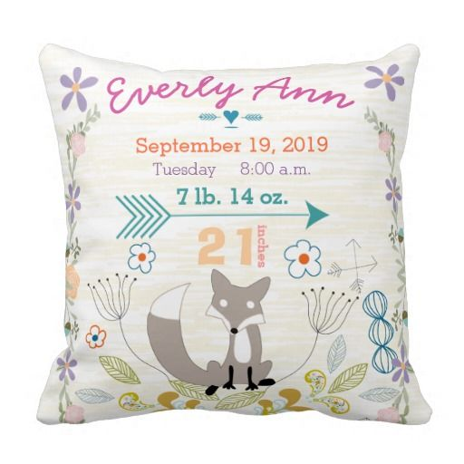 Birth Stats Baby Woodland Creatures Fox Pillow.