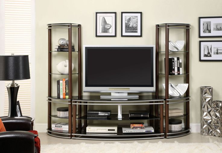 TV Stand CM5510-TVSILVER CREEKThis handsome media center has a mixed media look, open shelving for easy access to media components and black glass shelving for display. Two pier shelves are sold separately. Finished in brown and silver.Contemporary StyleMatching Pier ShelfBlack Tempered GlassMetal ConstructionTop Brown