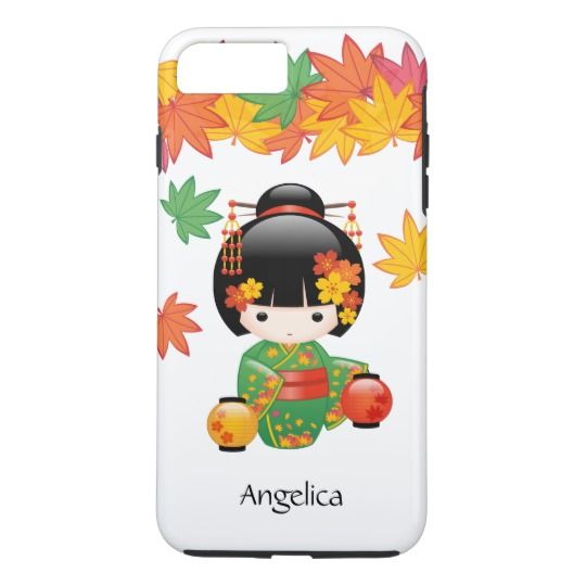 Fall Kokeshi Doll - Cute Chibi Geisha Girl with Green Kimono iPhone 8 / 7 Plus Case. #cute #chibi #iphone #case #plus