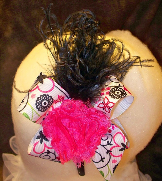 Hot Pink Black and White shabby chic and ostrich by wecreationz, $11.00White Shabby, Shabby Chic, Black And White, Hot Pink, Pink Black, Girls Frill