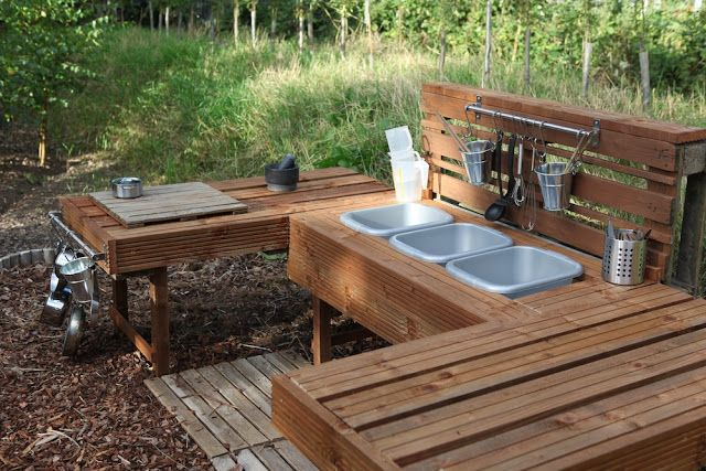 Making of a children's outdoor mud kitchen. All upcycled items. Awesome. This is our next project after finishing the chicken run and garden.
