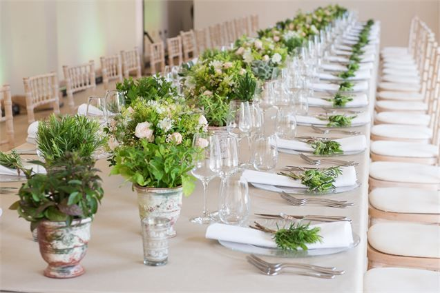 Rustic table setting with live plants and green offcuts.