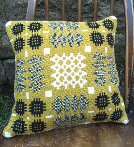 Mustard, black & white Welsh tapestry cushion