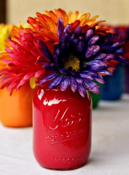 50th mason jar birthday decorations | Find more party planning inspirations for Diy Party Ideas