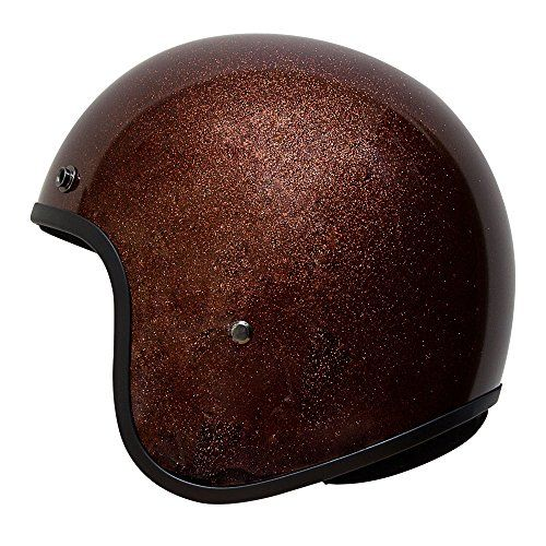 Voss 501 Bobber Style Fiberglass Ultra Slim DOT Helmet with Metal Quick Release – M – Metallic Root Beer